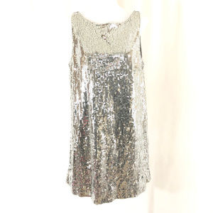 Free People Mini Shift Dress Sequin Silver Disco
